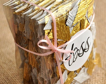 Gold Wedding Decor Confetti (10CT).  Handcrafted in 2-5 Business Days.  Toss Packets.  Favor Bags.