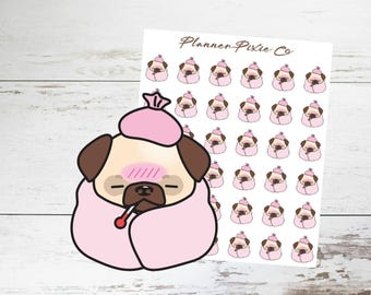 Pug Planner Stickers // Sick Day // Cold // Flu // 001