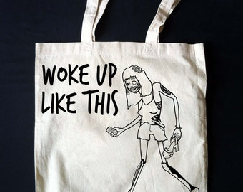 Zombie Girl 'Woke Up Like This' Canvas Tote Bag! *MADE TO ORDER* Natural Canvas Reusable