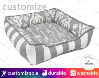 Grey & White Dog Bed or Cat Bed | Arrow, Ikat, Stripe, Minky Soft |  Select Your Fabrics or Design You Own