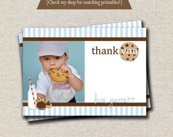 Milk and Cookies Thank You Card - blue and brown   Milk and Cookies Photo Card   digital printable