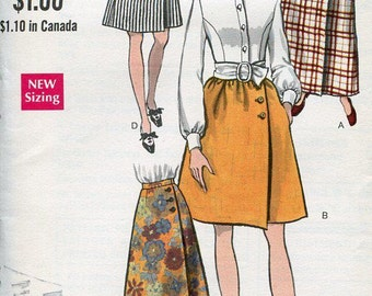FREE US SHIP Vogue 7450 Retro 1960's Mod Side Wrap Skirt Evening Length Side Button Gathered Waist 25.5 Sewing Pattern