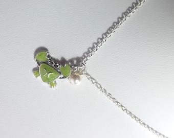 Green Swarovski Crab and Pearl Charm Necklace, Valentines Mothers Day Gift, Mom Sister Grandmother Jewelry, Christmas Gifts, Silver Necklace