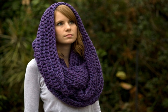 Infinity Scarf Purple Crochet Scarf Oversized Scarf Hooded