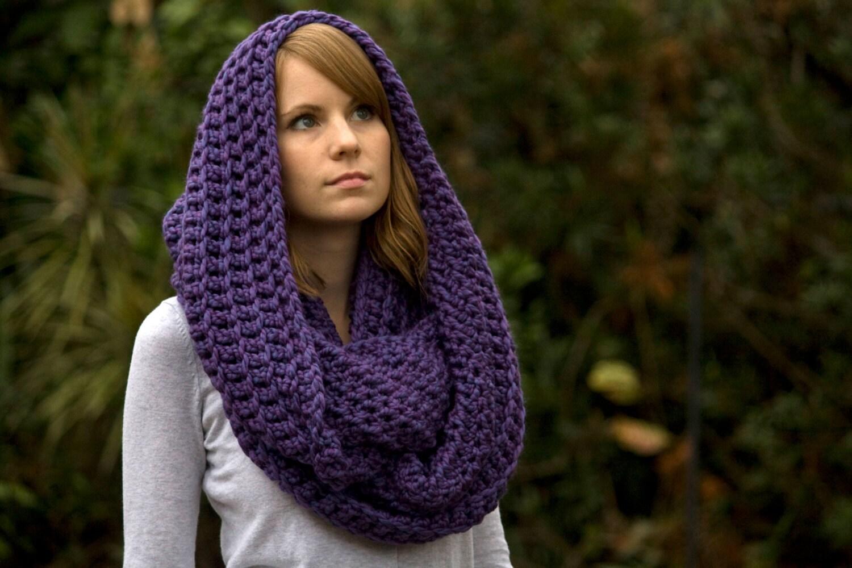 Infinity Scarf Purple Crochet Scarf Oversized Scarf Hooded