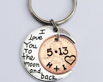 I Love You To The Moon And Back Keychain with penny, Anniversary gift, Boyfriend, girlfriend, husband ,Anniversary gift, moon keychain,Moon