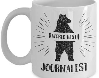 Bear Journalist. Best Gift For Journalist. Birthday Gift. Bear Journalist Mug. 11oz 15oz Coffee Mug.