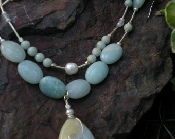 Gabrielle three-in-one necklace, amazonite teardrop, white freshwater pearls, sterling silver, unique jewelry by Grey Girl Designs on Etsy