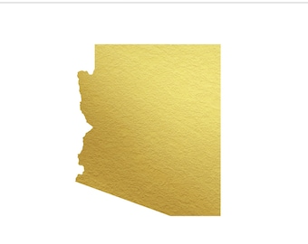 Arizona State Gold Foil State Clip Art Personal & Commercial Use - Southwest, Phoenix, Wedding, Desert, Scottsdale, AZ - INSTANT DOWNLOAD