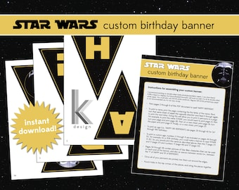 Star Wars themed custom birthday banner, printable file, Instant Digital Download