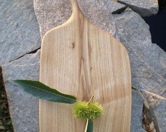 handled curved tray, chestnut board, chestnut platter, wooden board, wooden cutting board, wood kitchen board, solid chestnut tray
