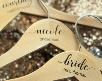 Bridesmaid Hangers - Wooden ENGRAVED Hanger - NOT stickers or sharpies! - Bridal Dress Hanger Calligraphy names dates and titles!!