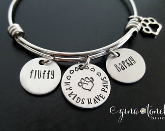 Paw Print Bracelet, Animal Bracelet, Dog Mom Jewelry, Cat Mom Jewelry, Dog Lover Jewelry, Cat Lover Jewelry, Pet Memorial, My Kids Have Paws
