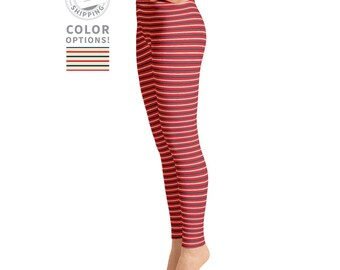 Red, Blue & Tan Striped Leggings | Yoga Clothes | Adult Leggings | Simple Leggings | High Waisted Leggings | Yogawear | Loopy Jayne