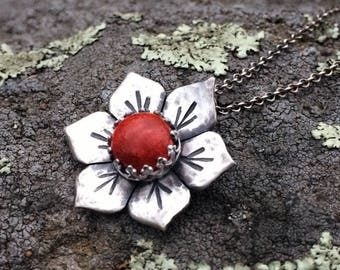 Silver Flower Necklace - Red Coral Gemstone - Floral Necklace for Women - Mandala Flower Gypsy Jewelry