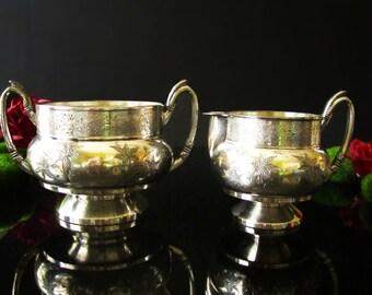 Antique James Tufts Silver Plate Sugar Bowl Creamer Aesthetic Design Quadruple Plate Circa Late 1800's