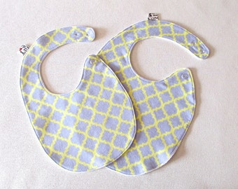 Baby Bib , Toddler Bib , grey and yellow bib, cotton flannel bib , fits infant to 2 years plus,  cotton baby bib , unique baby gift
