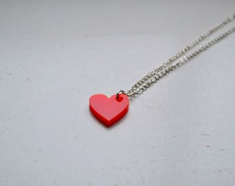 Laser Cut Red Acrylic Heart Necklace - Personalisation Available