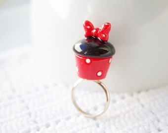 SUPER KAWAII COLLECTION: Minnie mouse chocolate muffin cupcake ring,food miniature ring,gold plated,for Minnie lover,birthday Christmas gift