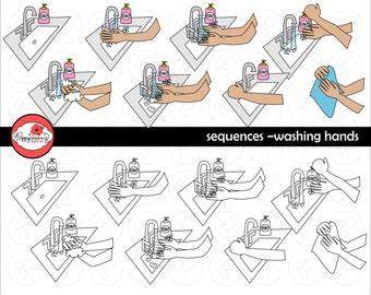 Sequenzen - waschen Hände Clipart-Set (300 dpi) Schule Lehrer Clip Art Daily Routinen beschleunigt ESL PreK Kindergarten frühkindliche