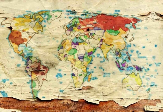 Aged World Map. Large Canvas Art Print. Large Wall Art for Home. Abstract Map. Home Decor. Abstract Map. Wall Decor by Irena Orlov