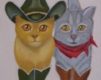Painting of cats walk country dance painting painting in pastel animal feline cat kick