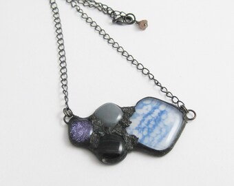 Urban Artifact Mini   Eclectic Fused Glass   Boho Jewelry   Fused Glass Pendant   Fall Jewelry