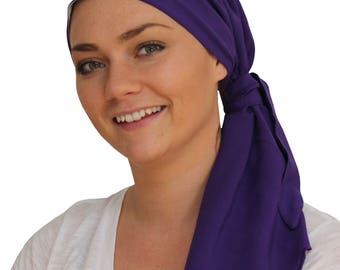 Jessica Pre-Tied Head Scarf, Women's Cancer Headwear, Chemo Scarf, Alopecia Hat, Head Wrap, Head Cover for Hair Loss - Purple