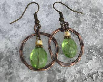 Copper Earrings, Dangle Earrings, Boho Earrings, Green Earrings, Womans Earrings, Womans Jewelry, Jewelry