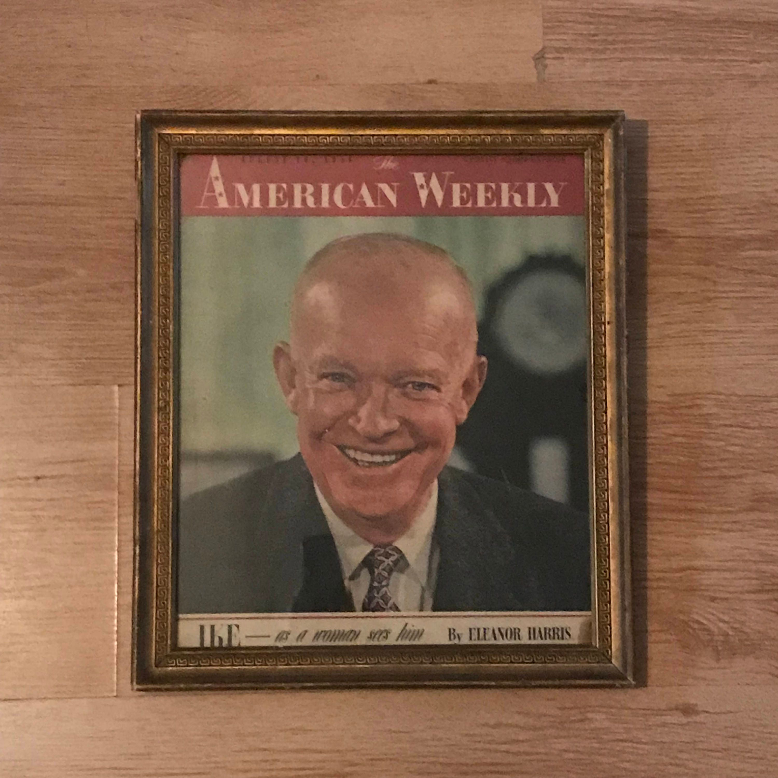 1956 dwight ike eisenhower american weekly cover in vintage frame 1956 dwight ike eisenhower american weekly cover in vintage frame august 19 1956 political memorabilia history magazine print jeuxipadfo Images
