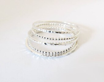 Ultra Thin Silver Rings Set, Thin Delicate Rings, Set Of 5 Super Thin Rings, Delicate Ring, 925 Sterling Silver Rings, Dainty Rings