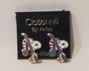 Enamel Snoopy Earrings by Aviva