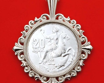 1960 Greece 20 Drachmai Selene Moon Goddess  BU Uncirculated Silver Coin Solid 925 Sterling Silver Necklace NEW - Nymph on a Horse