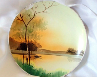 Nippon Plate Vintage Porcelain Hand Painted with Sunrise or Sunset Scene Wall Decor Wall  Hanging PRICE REDUCTION