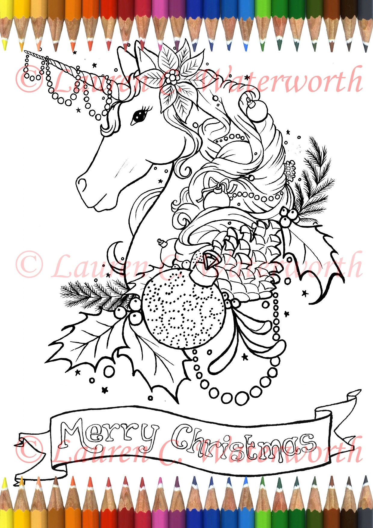 Christmas Unicorn Colouring Page Adult art Printable Fantasy