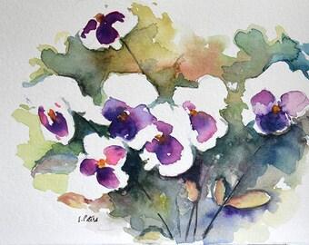 Original Watercolor Painting, White Purple Pansies, Flower Bouquet 6x8 Inch