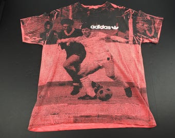 Vintage 80s adidas soccer all over print t-shirt mens L
