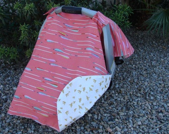 Baby Car Seat Canopy - Baby Car Seat Cover - Coral Car Seat Cover - Arrow Car Seat Canopy - Tribal Car Seat Cover - Girls Car Seat Canopy
