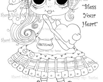 INSTANT DOWNLOAD Digital Digi Stamps Big Eye Big Head Dolls Messy Bessy Bless Your Heart  My Besties By Sherri Baldy