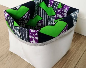 Basket storage reversible 14 x 14 faux leather and wax