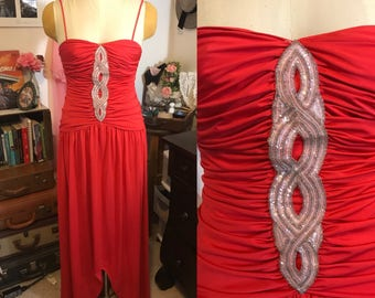 70's/80's does 30's Red Sequin Prom Dress || New Leaf California by Samir