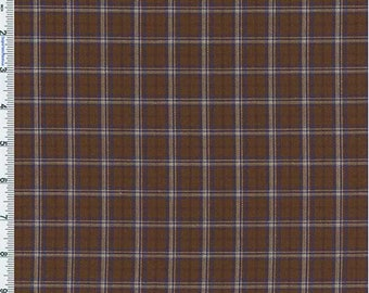 Rust/Blue/White Plaid, Fabric By The Yard