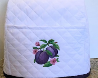 White Mixer Cover with Pretty Plums