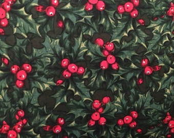 Christmas fabric by the yard - poinsettia fabric - mistletoe fabric #17145