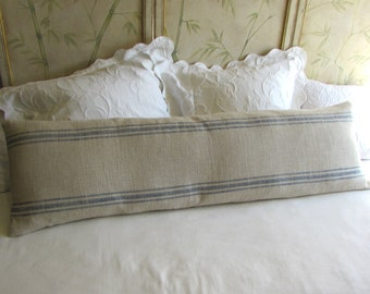 FRENCH LAUNDRY 16x54 super long  Pillow Cover  in BLUE Stripes