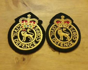 Two British Military Civil Defence Corps Uniform Patches