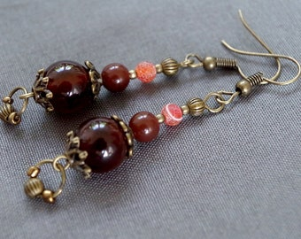 Brown agate and Pearl Earrings
