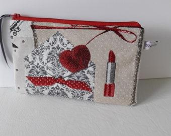 Zippered flat pocket, multifunctional, red and gray paris fashion fabric Kit