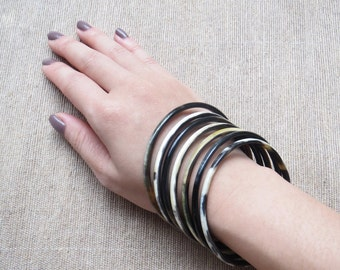 Bangle Bracelets, Bracelet Set, Black Bangle Bracelet Set, Horn Bracelet, Boho Bracelets, Bohemian Bracelets, Boho Jewelry, Bohemian Jewelry