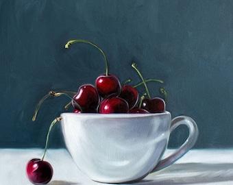 "Man Overboard - Cherries and Cup Original Still Life Oil Painting on 1/8"" Hardboard Panel by Lauren Pretorius"